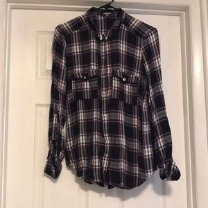 Plaid Button Down with Roll Up Sleeves